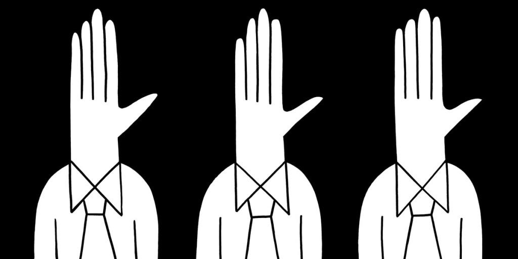 Hands up. stock illustration