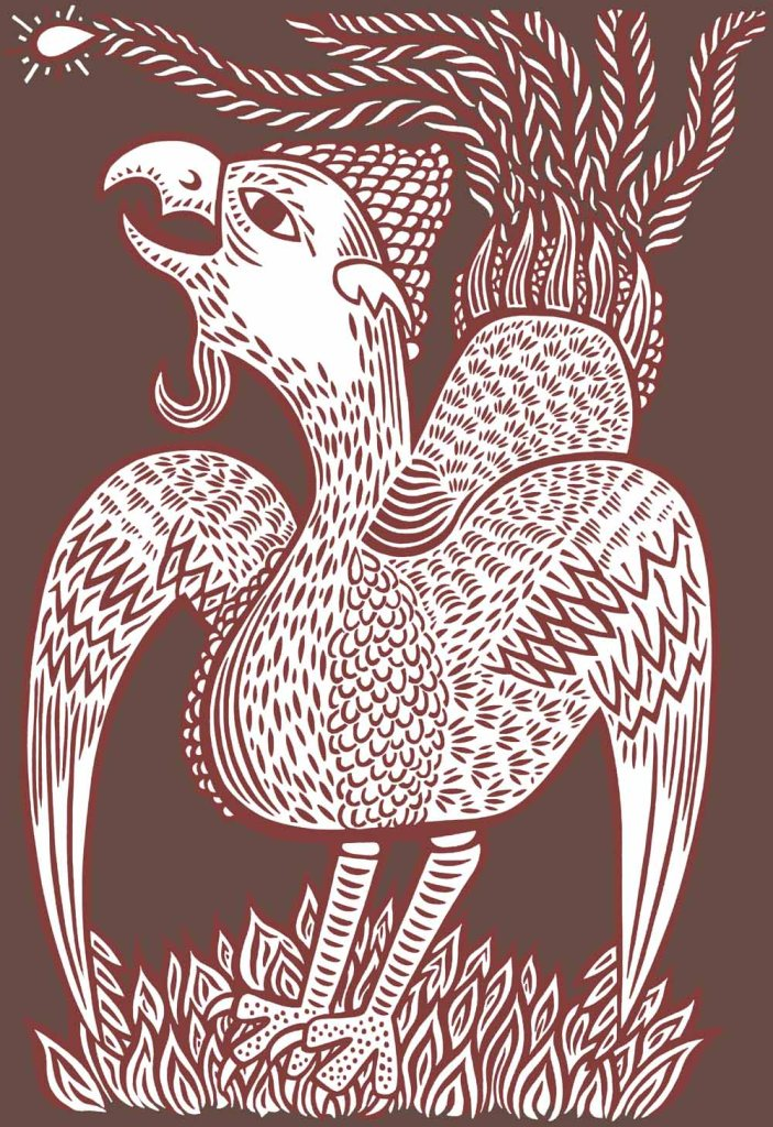 It was a strange bird. A hand drawn editorial illustration.