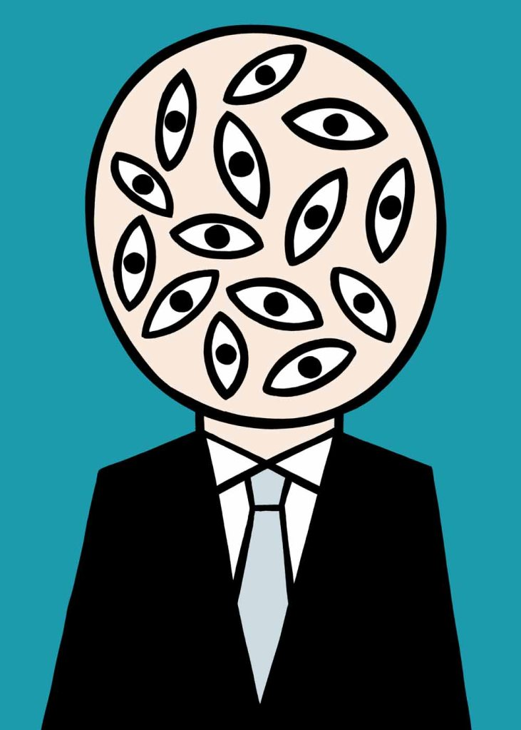 Here's looking and looking and looking at you. stock illustration