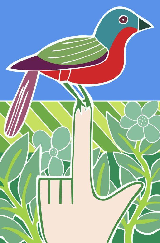 A bird on the hand stock illustration