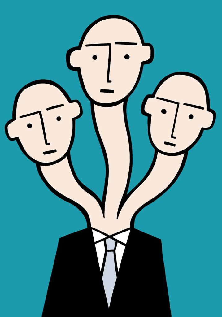 Three heads are always better. stock illustration
