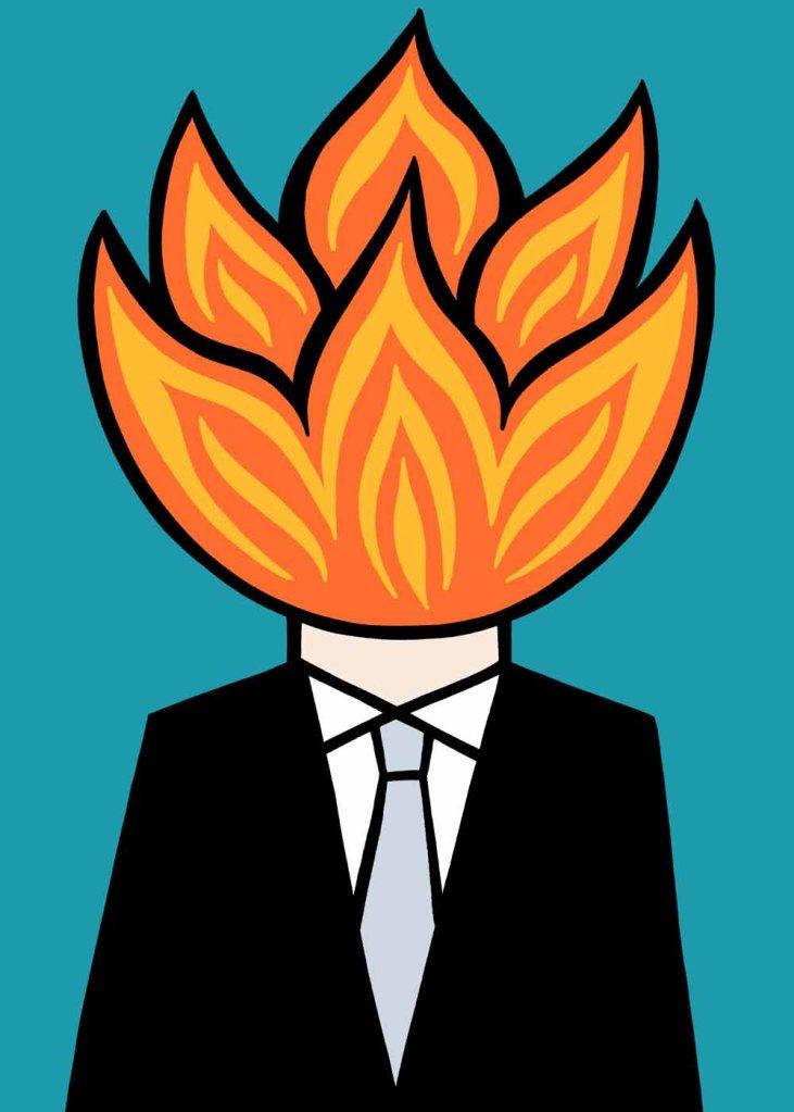 On fire. stock illustration