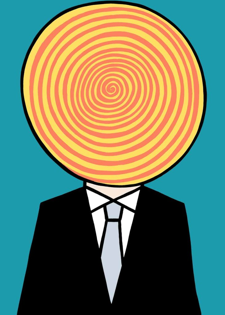 Look into my spinning mind. stock illustration