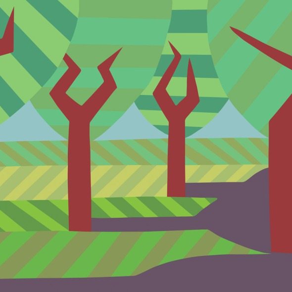 Four trees with shadows. stock illustration