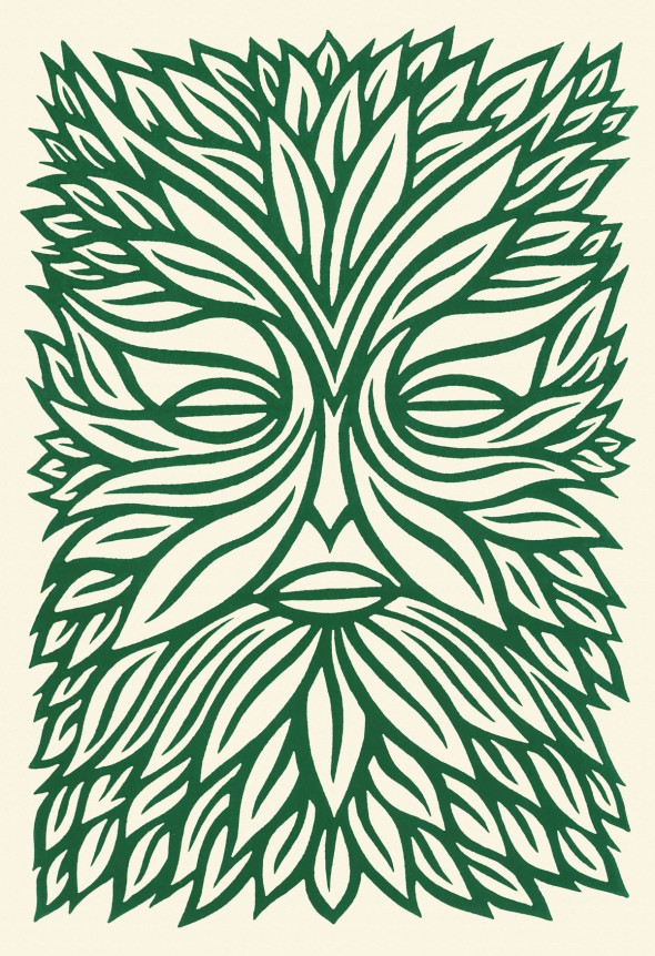 green man linocut print stock image