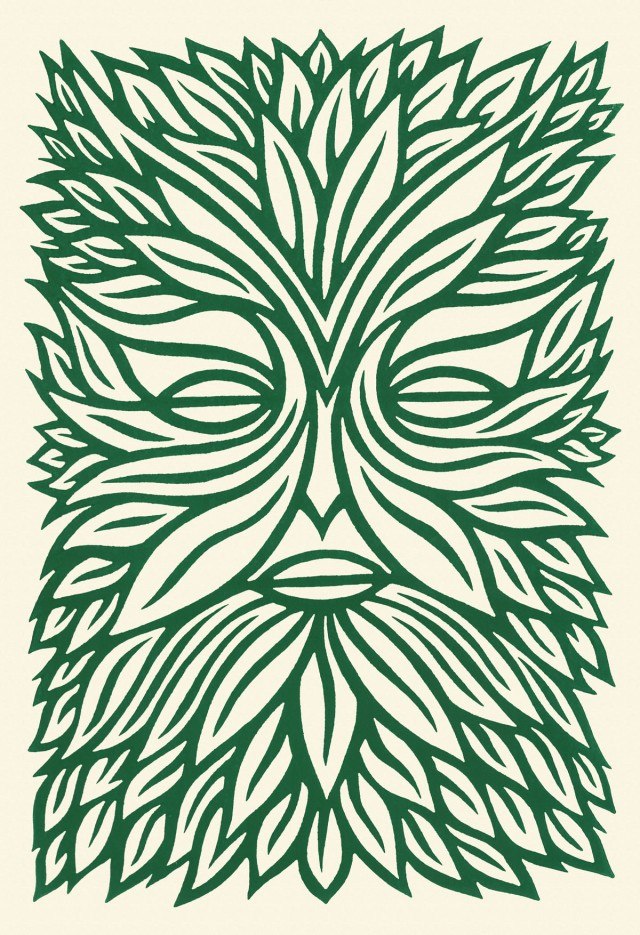 green man linocut print stock illustration
