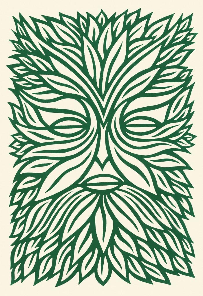 green man linocut print stock image