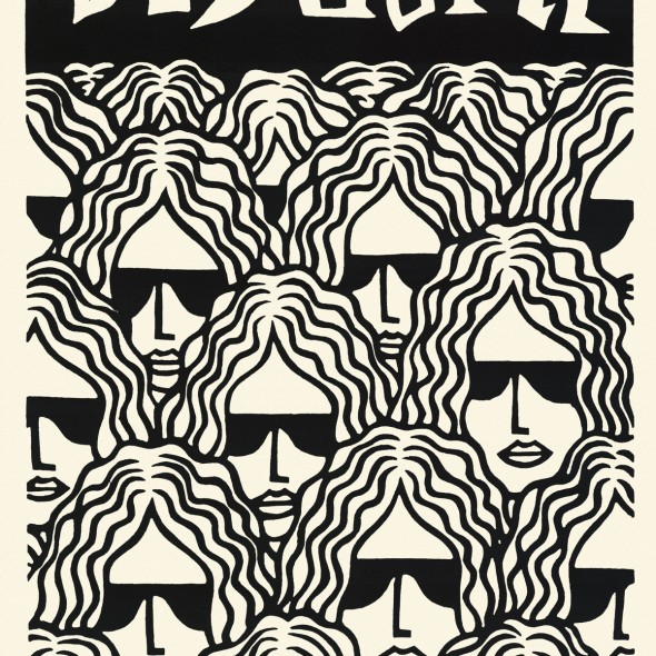 rock god linocut stock illustration