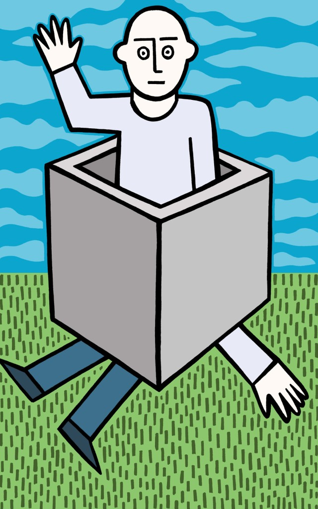 in and out of the box stock illustration